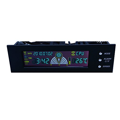 5.25 inch Bay Front Panel Digital LCD Display 3 Fans Speed Temperature Sensor Controller by BODHiMECH