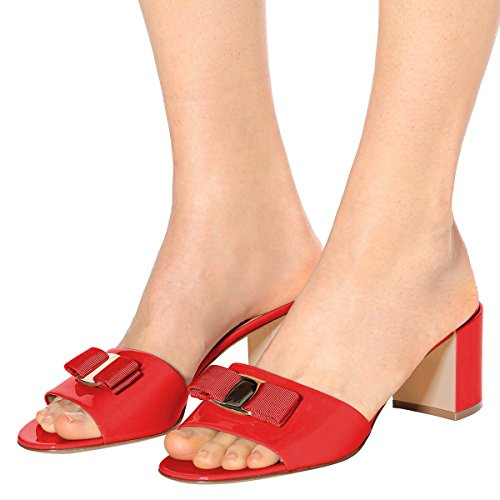 Women Cofmortable 15 Bowknot 4 Mules FSJ US Size Shoes Chunky Mid Sandals Slide Open Heels Casual Red Toe dwx6qPZ
