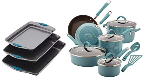 (Rachael Ray Cucina Hard Enamel Nonstick 12-Piece Cookware Set & Nonstick Bakeware Cookie Pan Set, 3-Piece, Gray with Marine Blue Silicone Grips)