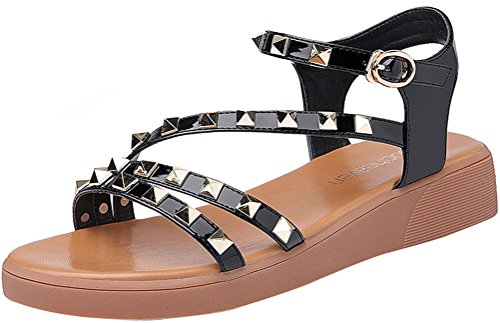 T&Mates Womens Fashion Casual Rivet Studded Straps Ankle Buckle Design Flat Summer Beach Sandals (7 B(M)US,Black) (Promo Codes For Cookies By Design)