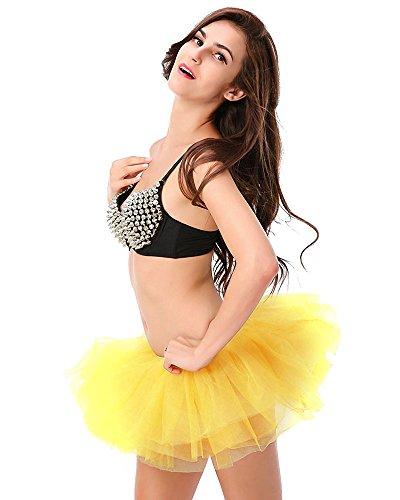 Soire Danse Tulle Anne 6 Femme Courte Cosplay Imixcity Dguisement pour Elastique Mini 50 Scne Ballet Pliss Jaune Couches Bal Jupe 1TfnwOq