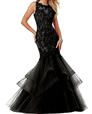 Ellenhouse Women's Applique Tulle Long Mermaid Prom Party Evening Dress EL189