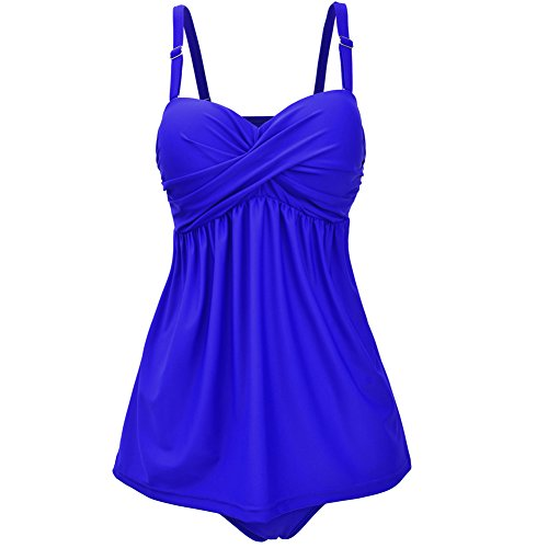 Tomlyws Women's Solid Ruched Tankini Top Swimsuit With Triangle Briefs Royal Blue L by Tomlyws
