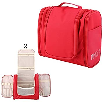 Maquillaje cosmético del recorrido eDealMax neceser Lavar la caja de almacenaje del organizador bolso colgante Rojo