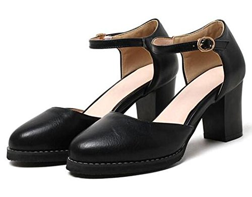 Easemax Kvinnor Mode Stängd Runt Tå Medel Hög Klack Sandaler Med Bucklig Ankelband Svart