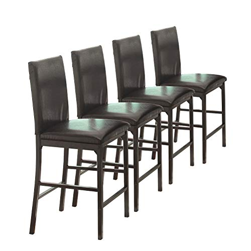 Homelegance Tempe PU Upholstered Counter Height Chair (Set of 4), Brown (Counter Height Table Sets Kitchen)
