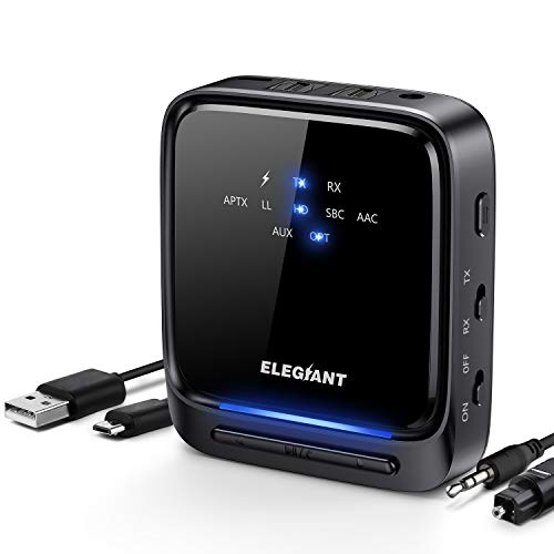 ELEGIANT Bluetooth 5.0 Transmitter Receiver Wireless Audio Adapter Pair 2 Headphones at Once aptX HD/aptX LL Built-in Microphone LED Indicator, Optical TOSLINK 3.5mm AUX RCA for TV Home Stereo System