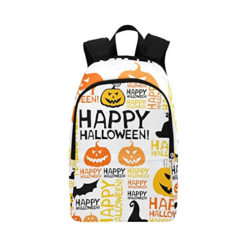 YSWPNA Halloween Bats Pumpkin Casual Daypack Travel Bag College School Backpack for Mens and Women -