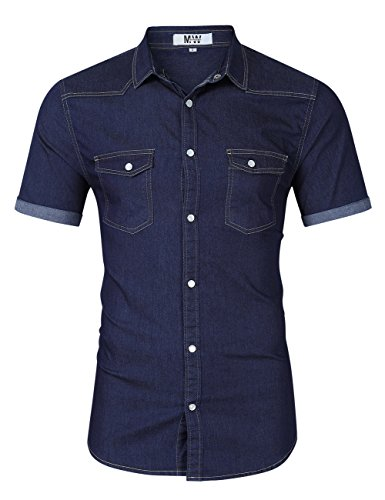 MrWonder Mens Casual Fit Button Down Shirts Short Sleeve Denim Shirts Western Shirt Dark Blue S Button Up Shirt Jeans