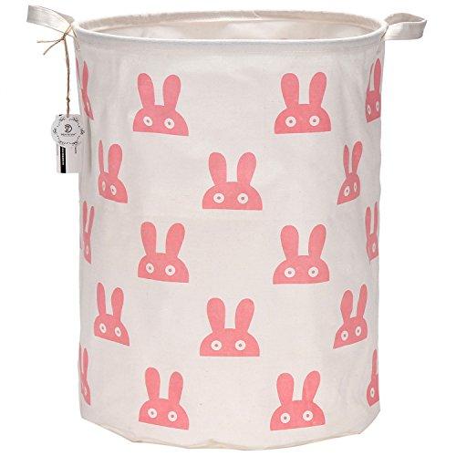 "Sea Team 19.7"" Large Sized Waterproof Coating Ramie Cotton Fabric Folding Laundry Hamper Bucket Cylindric Burlap Canvas Storage Basket with Cute Bunny Design (Pink)"