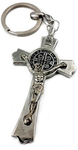 Saint Benedict Evil Protection Medal Metal Cross Keychain Faith Key Holder From Jerusalem Protective Benedictus Charm 3