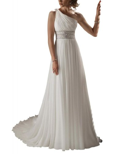 BRIDE Weiß bodenlangen Chiffon One Abendkleid Guete Hochzeitskleider Brautkleider Shoulder GEORGE dUqTdB