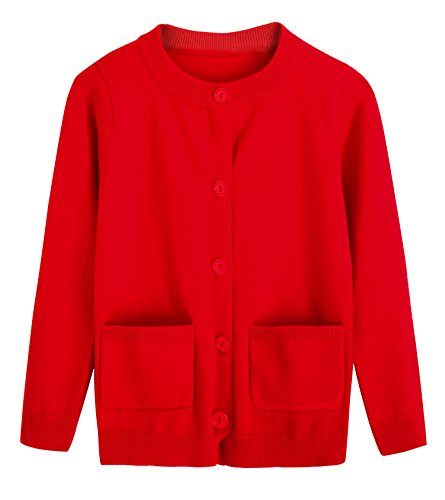 RJXDLT Girls Cardigan Knit Sweaters Long Sleeve Button Cotton Sweater 9-10Y Red (Red Cotton Cardigan)