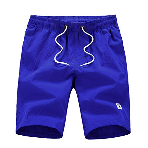 Suma-ma Men's Casual Solid Quick Dry Beach Pants Surfing Swimming Loose Shorts With Pocket (Dark ()