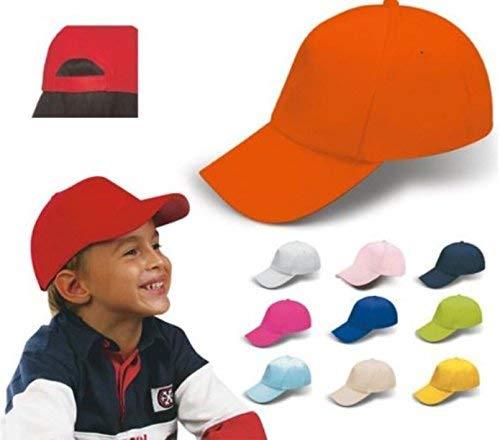 NEUTRO Stock 20 Pezzi Cappello Cappellino Giallo Berretto Bambino Bambina con Visiera Rigida Regolabili