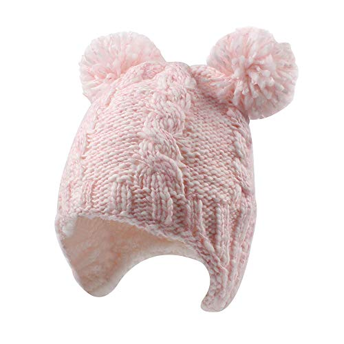 Knitting Earflap Pattern Hat - Chunky Cable Knit Baby Hat with Pompom Baby Boys Girls Winter Beanie Warm Fleece Lining Earflap Hat Classic Infant Toddler Bonnet 6M-4Y (6-12Months, Pink)