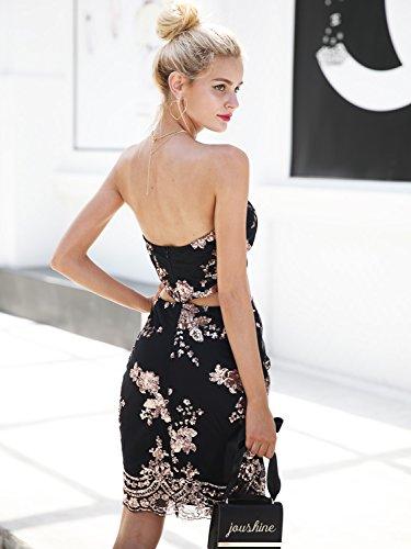 Soirée De Fête Des Femmes Sexy Simplee Vêtements Sequin Robe Moulante Dos Nu Midi Noir