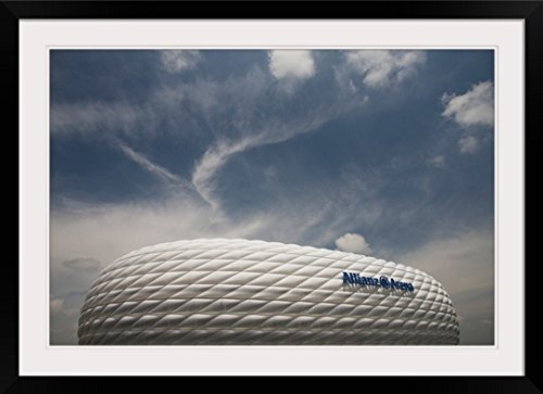 GreatBIGCanvas ''Low angle view of a football stadium, Allianz Arena, Munich, Bavaria, Germany'' Photographic Print with Black Frame, 36'' x 24'' by greatBIGcanvas