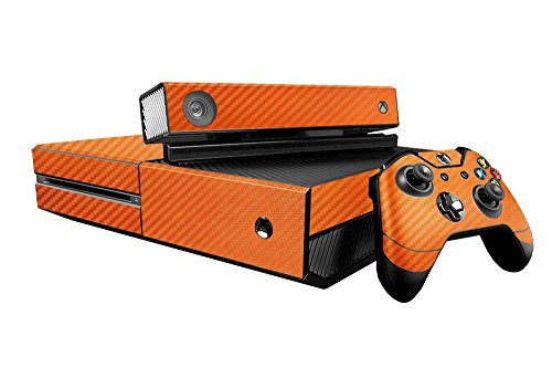 Microsoft Xbox One Skin (XB1) - NEW - 3D CARBON FIBER ORANGE - Air Release vinyl decal faceplate mod kit by System Skins