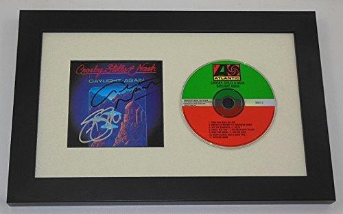 Crosby Stills & Nash CSN Daylight Again Stephen Stills Graham Nash Signed Autographed Music Cd Cover Compact Disc Framed Display Loa