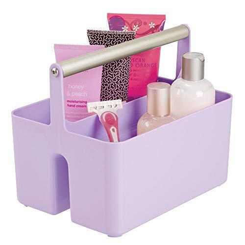 (mDesign Plastic Portable Storage Organizer Utility Caddy Tote, Divided Basket Bin - Metal Handle for Bathroom, Dorm, Holds Hand Soap, Body Wash, Shampoo, Conditioner, Lotion - Purple/Satin)