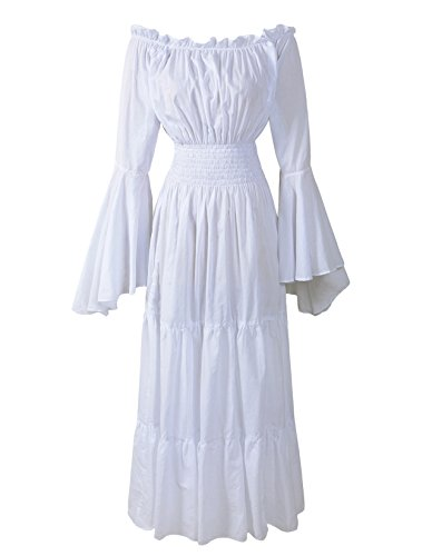 Renaissance Medieval Dress Costume Mythic Mystic Forest Sword Mistress Chemise (Regular, White)