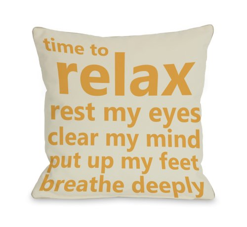 """One Bella Casa Time to Relax Throw Pillow by OBC, 18""""x 18"""", Ivory/Orange from One Bella Casa"""