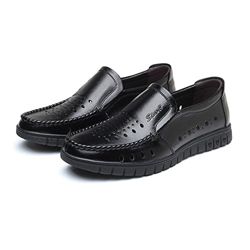 de holgazán Slip Perla clásico Hombres Hombres de la Zapatos para Zapatos Transpirable ZX de de Mocasines Cuero único on Negro Genuino los Piso Cuero 6qHWcZ0Fw