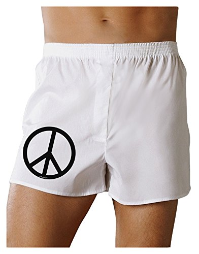 TooLoud Peace Sign Symbol Boxers Shorts - White - Medium (70s Outfits For Men)