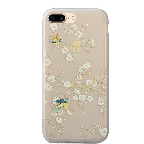 Funda para iPhone 7 Plus / 8 Plus, Vandot Mate de Lujo Caja Teléfono Móvil Carcasa Protectora Delgado Caso de TPU Silicona Alivio en 3D Funda Protective Case Cover para movil iPhone 7 Plus / 8 Plus 5. Peach Blanco