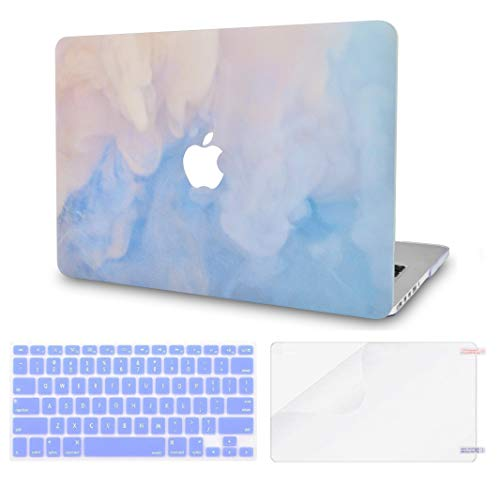 LuvCase 3 in 1 Rubberized Plastic Hard Shell Case with Keyboard Cover and Screen Protector Compatible MacBook Air 13 Inch A1466 & A1369,(No Touch ID) (Blue Mist)
