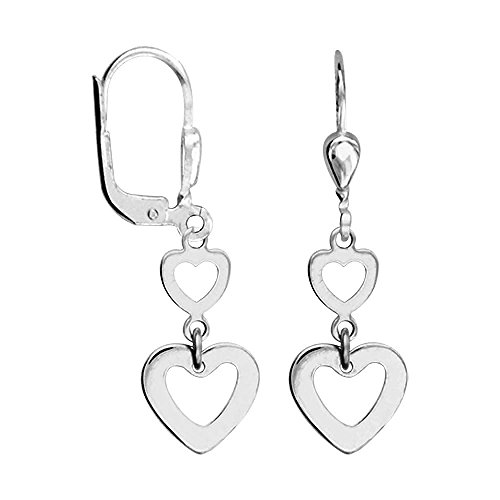 Sterling Silver Carved Heart Earrings (So Chic Jewels - 925 Sterling Silver Carved Hearts Leverback Dangle Earrings)