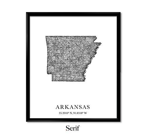 Arkansas Map, longitude, latitude - Unframed art print poster or greeting card