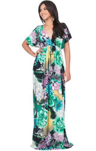 (KOH KOH Plus Size Womens Long Kimono Short Sleeve V-Neck Summer Sun Floral Print Flowy Sundress Sundresses Maternity Casual Gown Gowns Maxi Dress Dresses for Women, Green Black and White XL 14-16 (2))