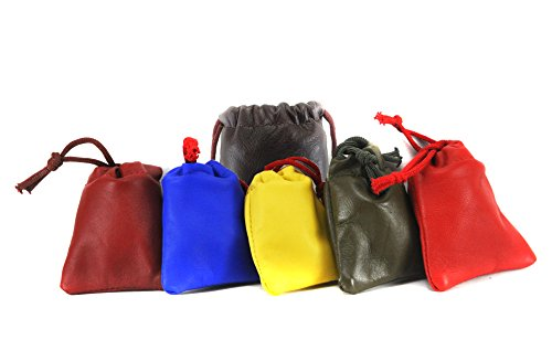 PACK of 6: Chalk Factory Multiple use Lambskin Leather Pouch with Drawstrings: (Size : 7 cm X 9 cm) (Multi - Drawstring Lambskin