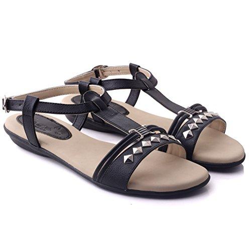 Unze Sandalias planas ocasionales Mujeres Bianco ' Negro