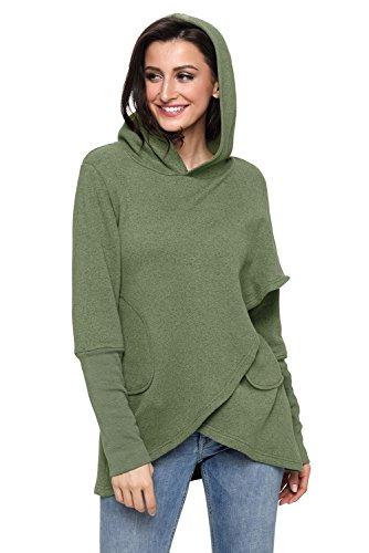 Green Tunic Sweater (Shawhuwa Womens Long Sleeve Asymmetric Hem Hoodie Sweatshirt Tunic Tops Blouse XL Green)