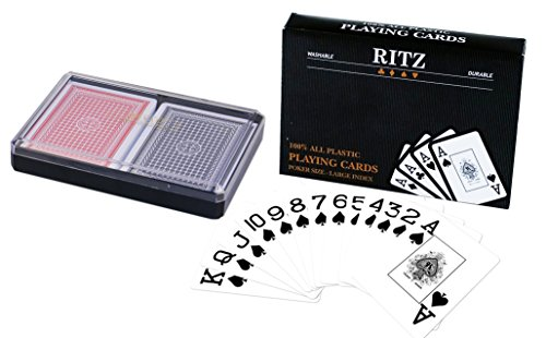 Ritz 2-Decks Poker Size 100% Plastic Playing Cards Set in Plastic Case, Large (Jumbo) Index