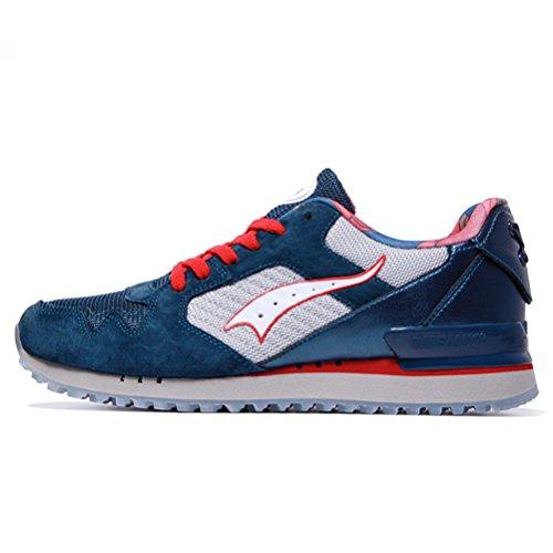 Yidiar Moda Hombre Ligero Caminar Jogging Sports Sneakers Athletic Trainer Zapatillas Clásicas Azul Oscuro / Blanco
