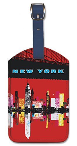 Leatherette Vintage Art Luggage Tag - New York