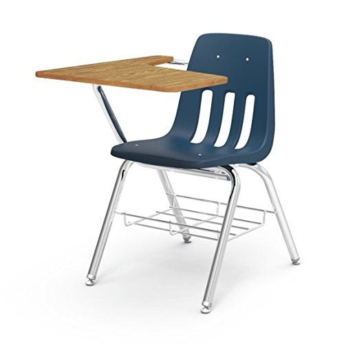 Virco Student Chair Desk with Bookrack, Navy Blue Soft Plastic Seat, 12