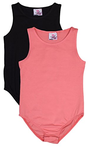 Real Love Girls 2 Pack Sleeveless Bodysuit, Black & Coral, Size 14/16' Complete Body Unitard