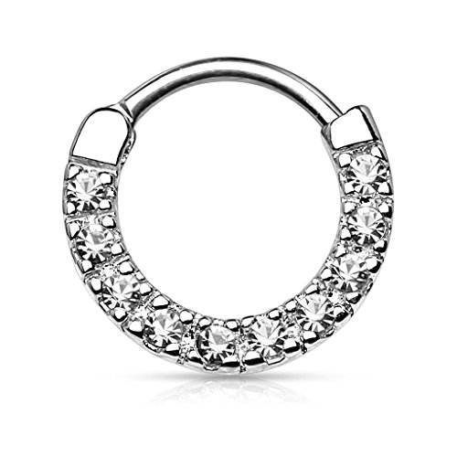 Forbidden Body Jewelry 16g 10mm Rounded Top Pave Clear CZ Tiny Clicker Hoop for Septum and Cartilage Piercings