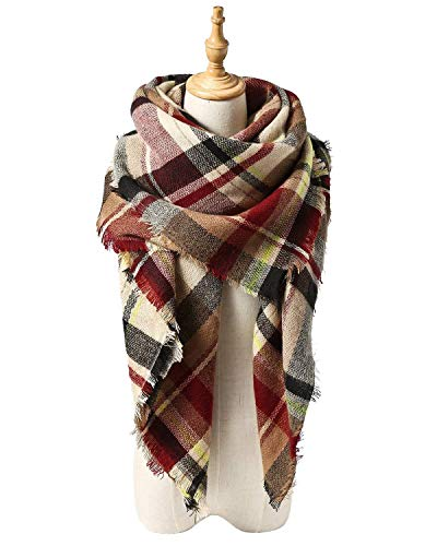 Spring Fever Stylish Warm Soft Plaid Fall Winter Fashion Cashmere Blanket Scarf Tassels for Women C Pink