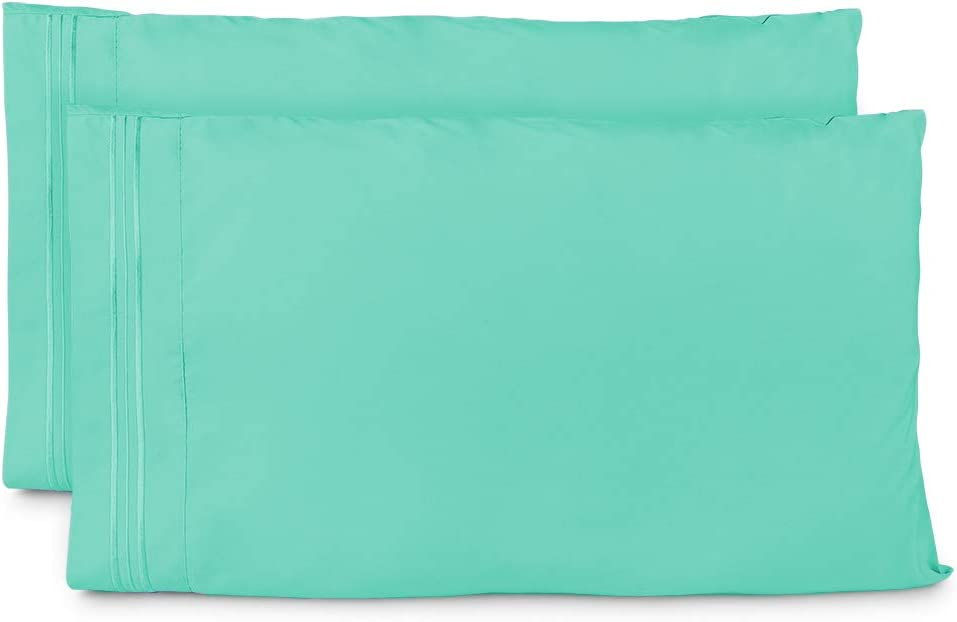 Cosy House Collection Pillowcases Standard Size - Pastel Green Luxury Pillow Case Set of 2 - Fits Queen Size Pillows - Premium Super Soft Hotel Quality - Cool & Wrinkle Free - Hypoallergenic