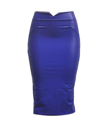Falda de Lápiz para Mujeres Bodycon Tubo Cuero de Imitación Faldas ...