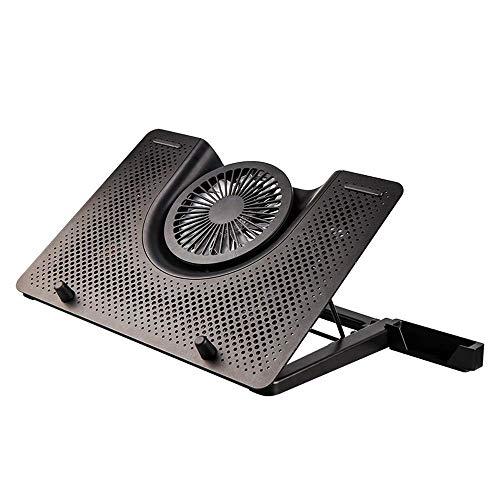 C-Xka Aluminum Alloy Panel Notebook Stand Radiator Computer Cooling Base Pad with Metal Adjustable Bracket and Silicone Anti-Skid Baffle, Multi-Range Height Adjustable Laptop Bracket (Color : Black)