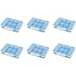 STERILITE 14028606 Divided Case, Clear Case & Blue Aquarium Latches w/Freshwater Tint Trays, 6-Pack