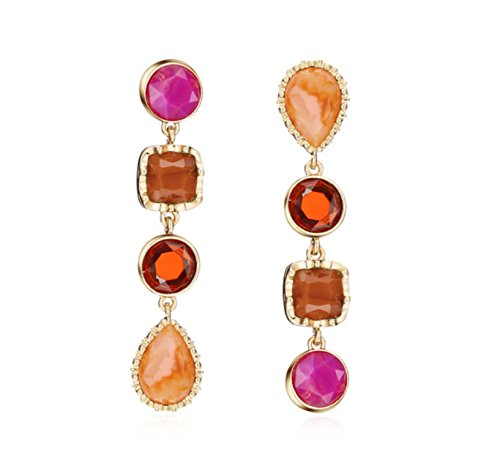 Vera Lotus Accent (Luxury Colorful Geometric big gem Dangle earrings Statement Long chain crystal drop Earrings for women Jewelry (Red))