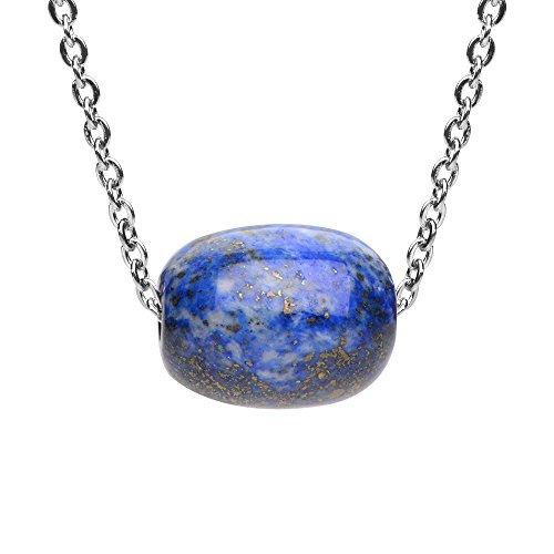 iSTONE Natural gemstone Lapis Lazuli Barrel Bead Pendant Necklace for Peace and Luck 18 Inch Chain
